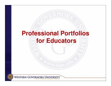 Professional Portfolios for Educators - WGU Alumni Community