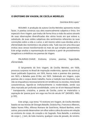 O EROTISMO EM VIAGEM, DE CECÍLIA MEIRELES - TEL