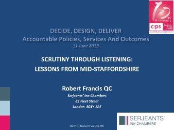 Robert Francis QC - Centre for Public Scrutiny