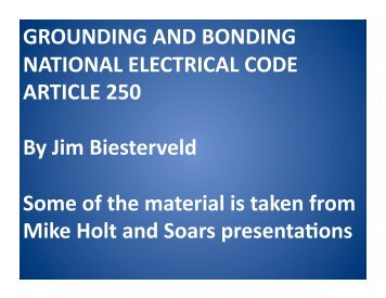 GROUNDING AND BONDING NATIONAL ELECTRICAL CODE ...