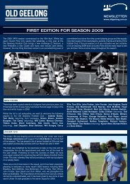 Pre-Season Edition - The Old Geelong Sporting Club