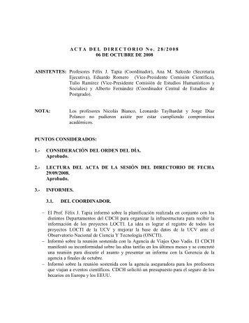 Directorio del 06/10/2008 - CDCH-UCV
