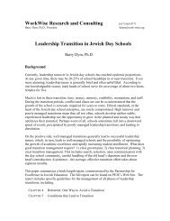 Leadership Transition in Jewish Day Schools Executive Summary