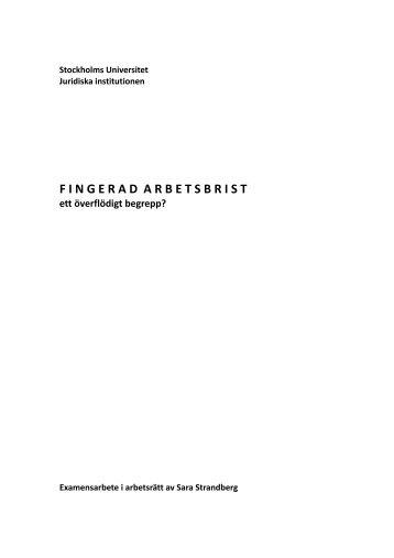 Fingerad arbetsbrist - Juridicum - Stockholms universitet