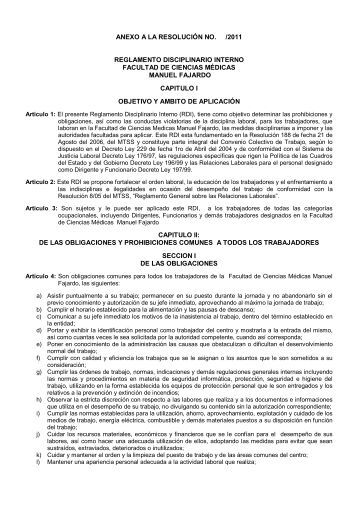 anexo a la resolución no. /2011 reglamento disciplinario interno ...
