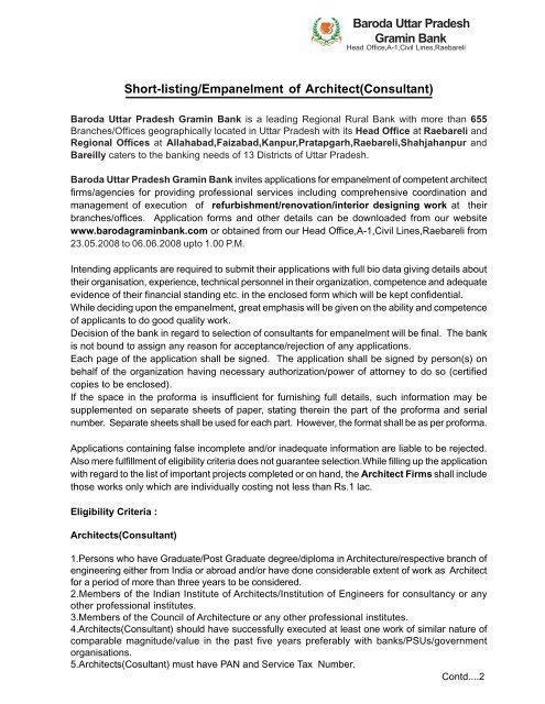 Baroda Uttar Pradesh Gramin Bank Short-listing/Empanelment