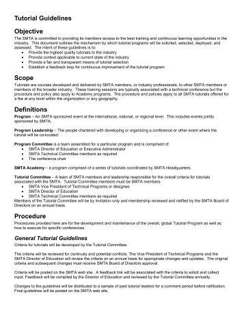 Tutorial Guidelines Objective Scope Definitions Procedure - SMTA