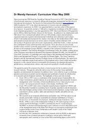Dr Wendy Harcourt: Curriculum Vitae May 2008 - ERD