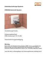 Kabelabschottungs-Systeme HSM-Mörtelschott ... - OBO Bettermann