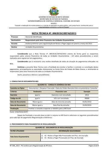 006_2013 – Pré análise para regularização de restos a pagar - Sefaz