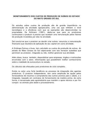 Monitoramento dos custos de produção de suínos do - Embrapa ...