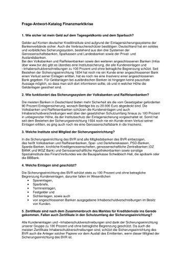 """Frage-Antwort-Katalog """"Finanzmarktkrise"""""""
