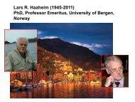 Lars R. Haaheim (1945-2011) PhD, Professor Emeritus ... - Unisi.it