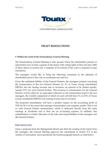 Draft Resolutions – EGM June 18, 2009 - touax group