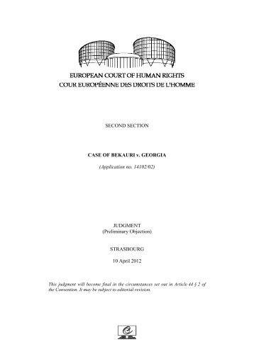 SECOND SECTION CASE OF BEKAURI v. GEORGIA (Application ...