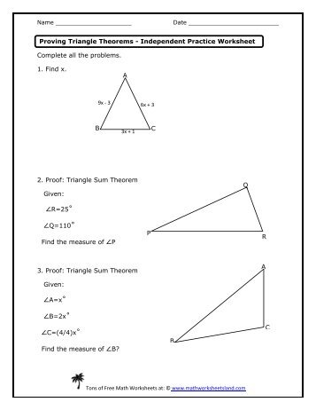 Triangle Inequality Theorem Worksheet Five Pack Math
