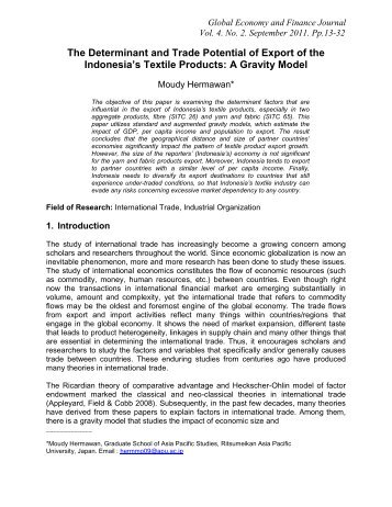 The Determinant and Trade Potential of Export of the ... - Wbiaus.org