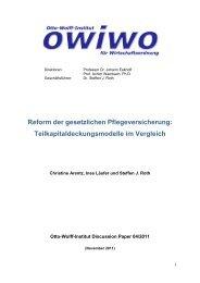 Reform der gesetzlichen Pflegeversicherung - Otto-Wolff-Institut für ...