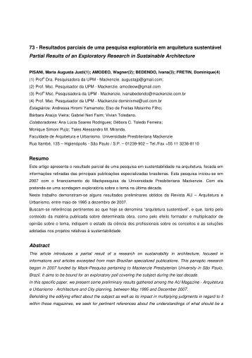 73 - Resultados parciais de uma pesquisa exploratória em ... - USP