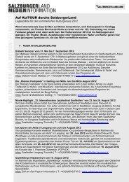 Die Vielfalt des Sommers im SalzburgerLand - Presse Informationen ...