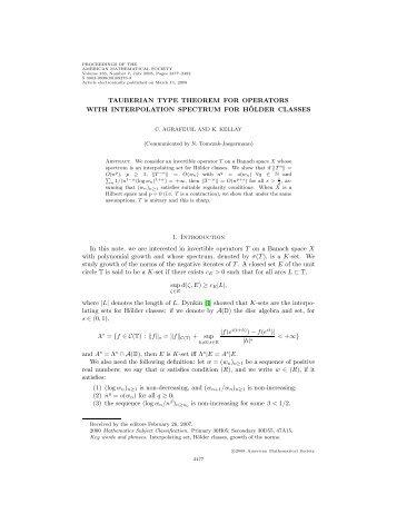 Tauberien type theorem for operators with interpolation spectrum