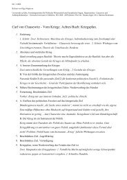 Carl von Clausewitz - Vom Kriege. Achtes Buch - Universität zu Köln