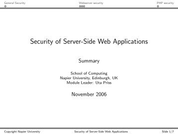 Security of Server-Side Web Applications - Uta Priss