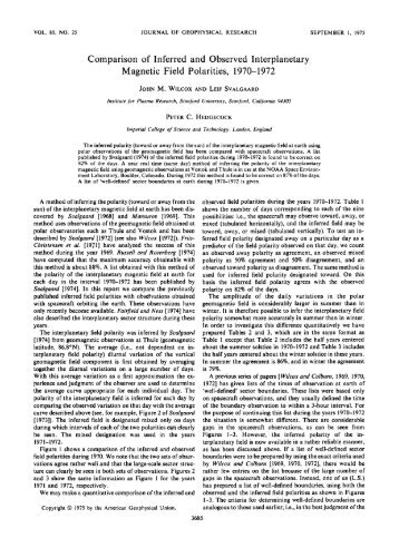 Comparison of Inferred and Observed Interplanetary - Leif and Vera ...