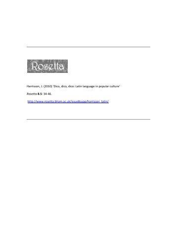 Dico, dico, dico: Latin language in popular culture - Rosetta