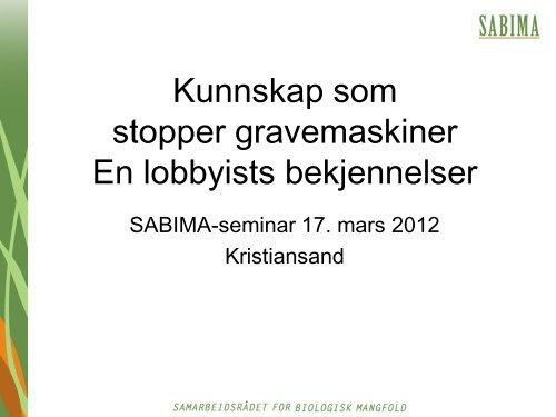 Bærekraftig arealforvaltning - Sabima