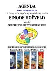 AGENDA SINODE HOËVELD - NG Kerk