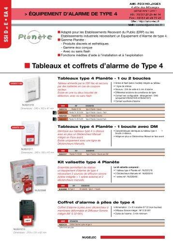 Tableaux et coffrets d'alarme de Type 4