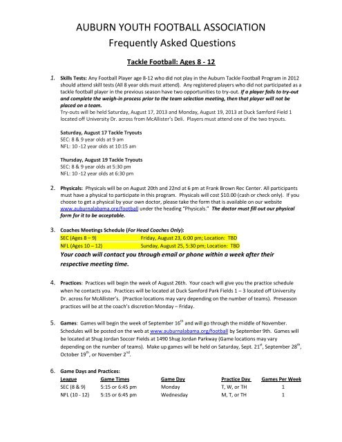 AUBURN YOUTH FOOTBALL ASSOCIATION Frequently Asked