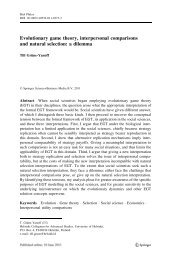 Evolutionary game theory, interpersonal comparisons and natural ...