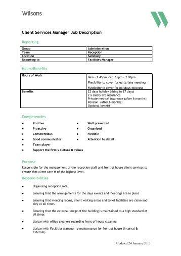 Client Services Manager Job Description - Wilsons