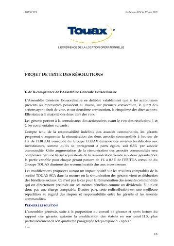 Projet des résolutions de l'Assemblée Générale Mixte du 18 ... - Touax