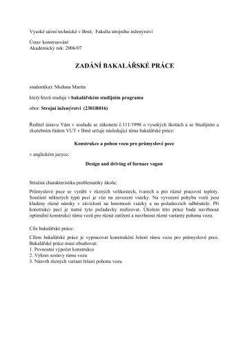Zadání bakalářské práce - Ústav Konstruování - Vysoké učení ...