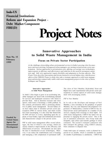 Innovative approaches to solid waste management in India