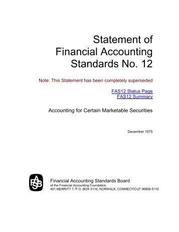 FASB: Status of Statement 12 - Paper Audit & Conseil