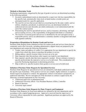 Purchase Order Procedure - Methodist University