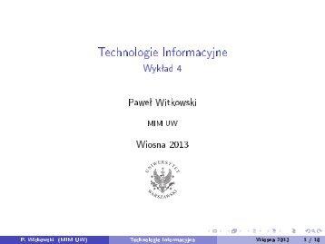 Technologie Informacyjne - Wykład 4