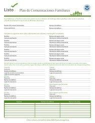 Plan de Comunicaciones Familiares - Ready.gov