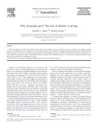 Why do people give? The role of identity in giving - Stanford University