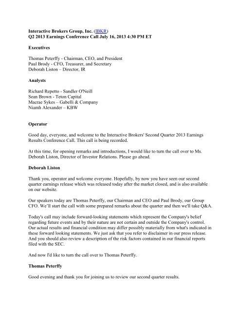 Earnings Call Transcript PDF - Investor Relations