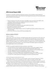 Annual Report 2009 (PDF, 207KB) - ZPID