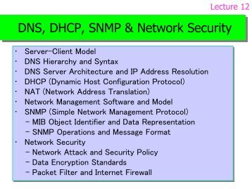 DNS, DHCP, SNMP & Network Security