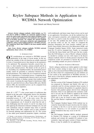 Krylov Subspace Methods in Application to WCDMA Network ...