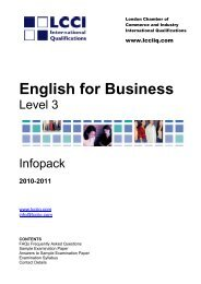 English For Business Level 3 Infopack - LCCI