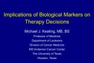 Implications of Biological Markers on Therapy Decisions Michael J ...