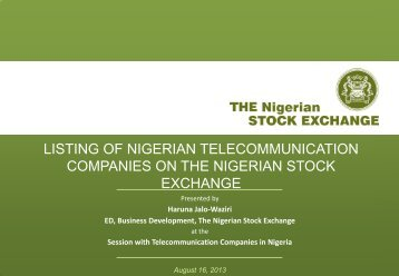 listing of nigerian telecommunication companies on the nigerian ...